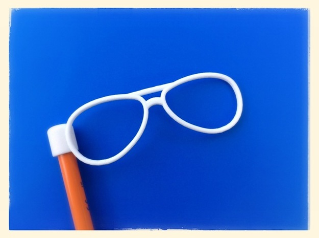 Glasses Penciltop: The Flyer in White Strong & Flexible Polished