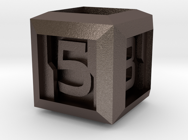 Sci-fi Crate D6 - 16mm die in Polished Bronzed Silver Steel
