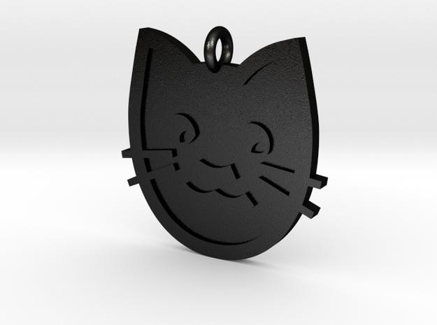 Cat Pendant in Matte Black Steel