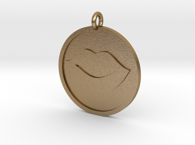 Lips Pendant in Polished Gold Steel