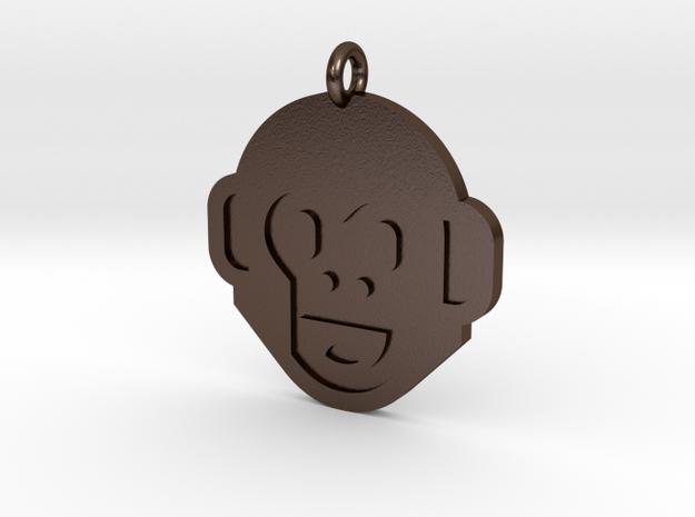 Monkey Pendant in Polished Bronze Steel