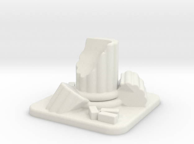 28mm Scale Small Column Ruin in White Natural Versatile Plastic