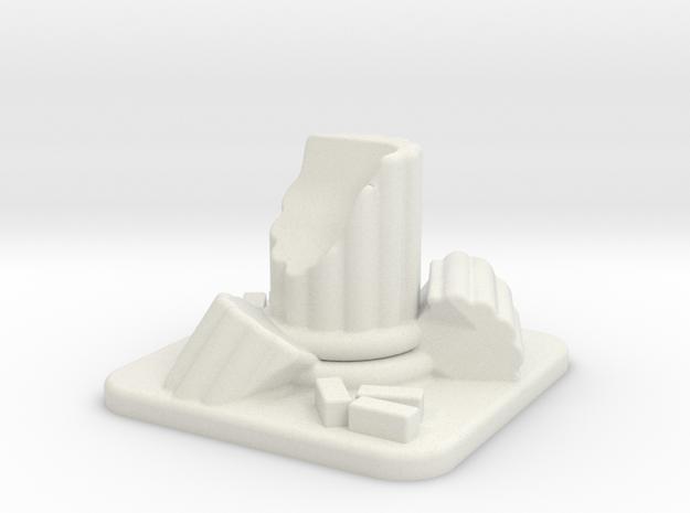 28mm Scale Small Column Ruin in White Natural Versatile Plastic