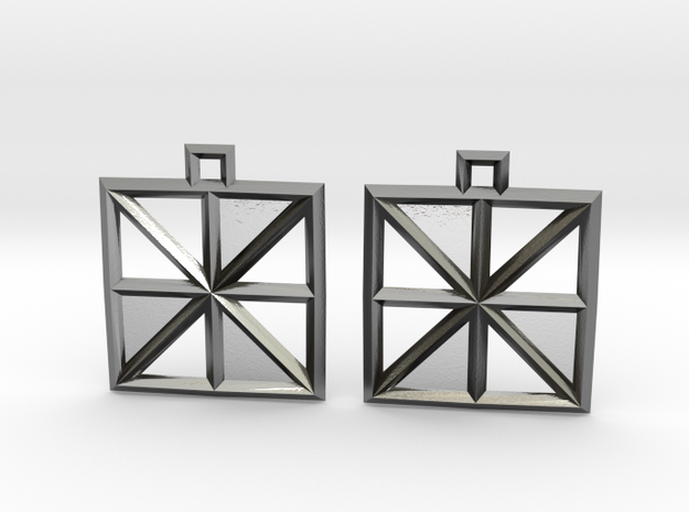 Square Alcove Earrings in Polished Silver