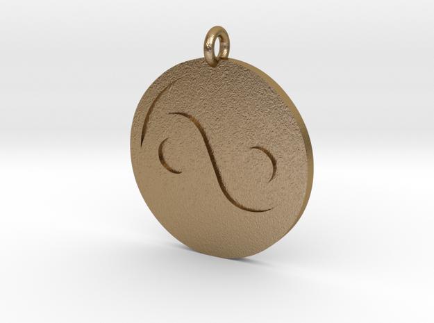 Yin Yang Pendant in Polished Gold Steel