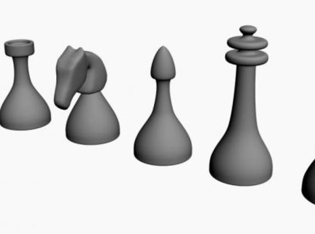 Chess Pieces in White Natural Versatile Plastic