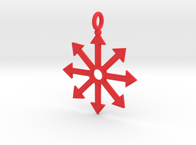 Chaos star pendant in Red Processed Versatile Plastic