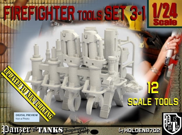 1/24 Firemen Tools Set 3-1 in White Strong & Flexible