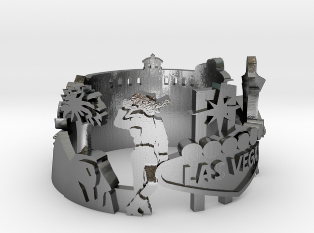 Las Vegas Skyline - Cityscape Ring  in Polished Silver: 6 / 51.5