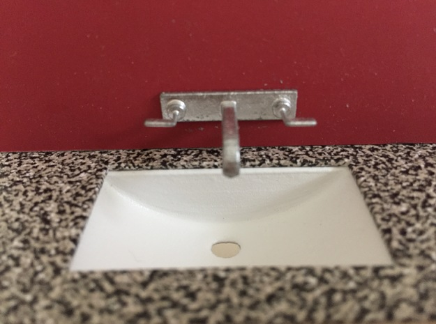 1:12 Sink bathroom under counter in White Strong & Flexible Polished