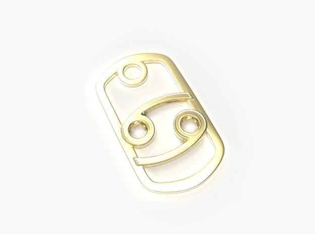 Cancer Zodiac Sign Dog Tag Pendant in 18k Gold Plated Brass