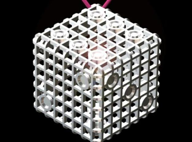 Steel Cage Die #1 3d printed Could be worn as a pendant (lanyard not included).