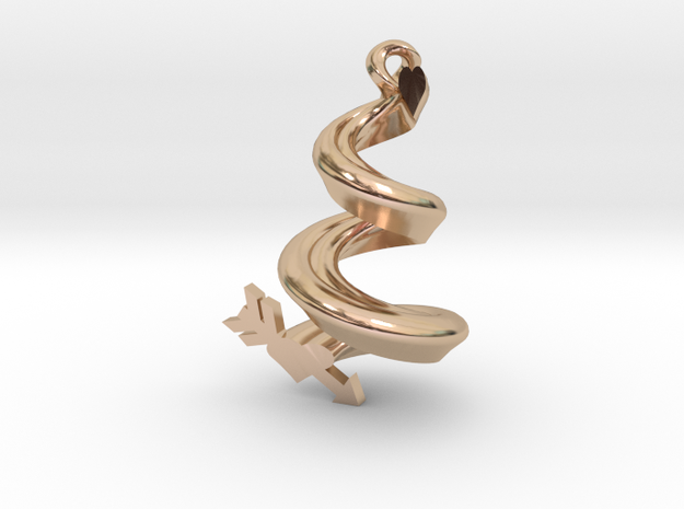 Spiral Heart Pendant in 14k Rose Gold Plated