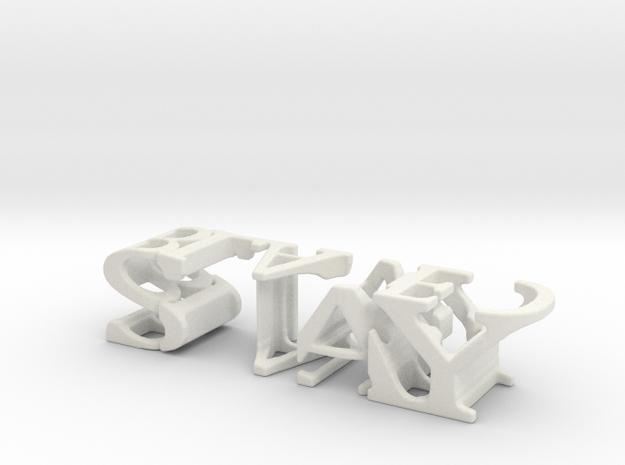 3dWordFlip: STAY/BLADED in White Natural Versatile Plastic