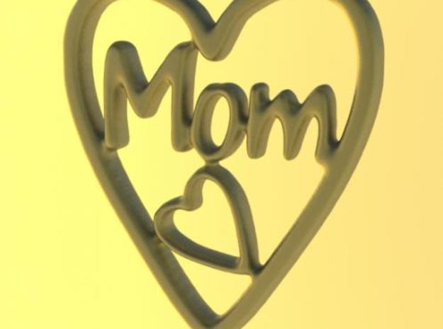 MOM Pendant (3cm) in White Natural Versatile Plastic