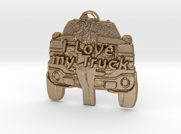 Girl, Love my Truck in Polished Gold Steel: Large