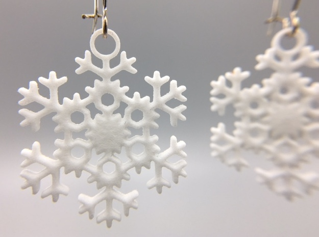 Blizzard Snowflake Earrings in White Strong & Flexible Polished
