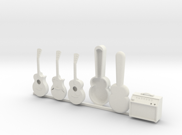 1/24 Scale Guitar Collection in White Natural Versatile Plastic