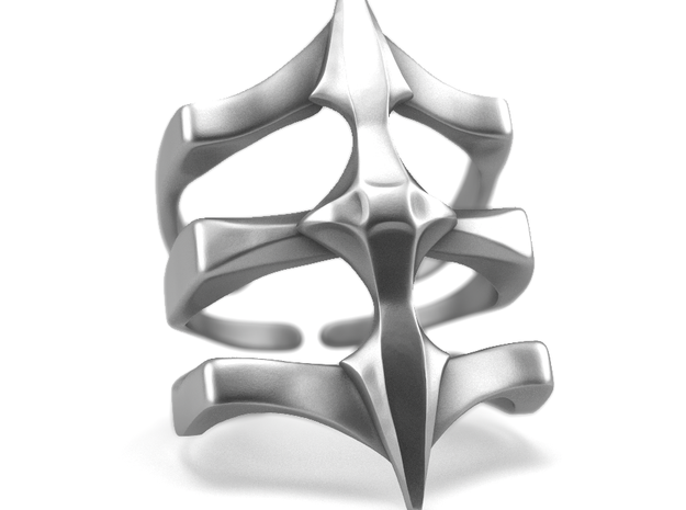 Ring Two Spikes - Elegant modern adjustable in Polished Silver: 7 / 54