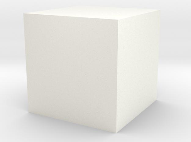 Hollow Cube 3 cm edge length in White Processed Versatile Plastic
