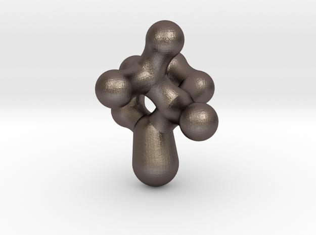 Camphor Molecule Pendant in Polished Bronzed Silver Steel