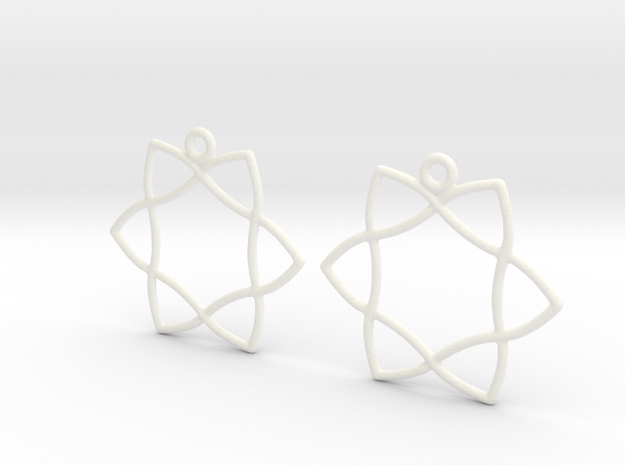 Celtic Weave Earrings - WE029 in White Processed Versatile Plastic