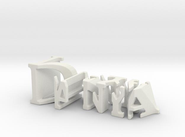3dWordFlip: Danya/Naya in White Natural Versatile Plastic