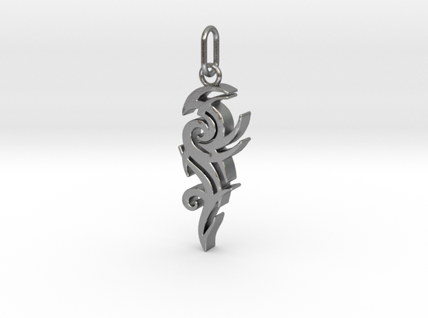 Tribal Pendant in Natural Silver (Interlocking Parts)