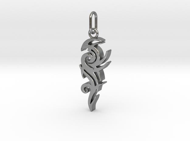 Tribal Pendant in Interlocking Raw Silver