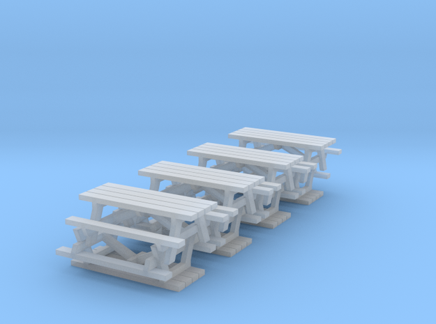 N Scale Picnic Tables x8 in Smooth Fine Detail Plastic