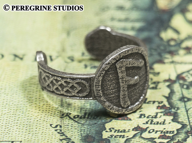 Ring - Ansuz Rune (Size 13) 3d printed Stainless Steel