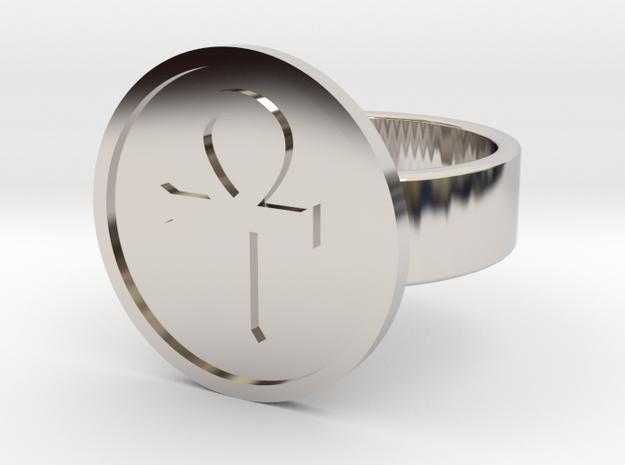 Ankh Ring in Rhodium Plated Brass: 10 / 61.5