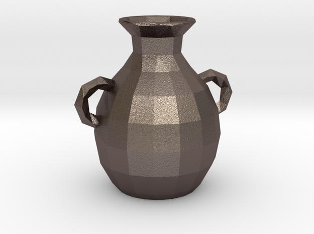 Polygonal amphora in Polished Bronzed Silver Steel
