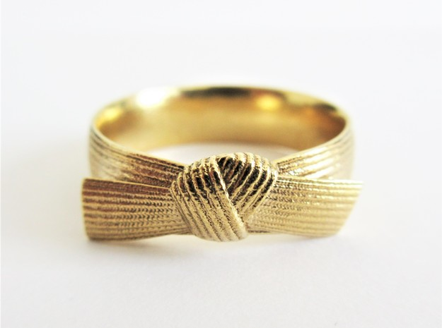 Detailed Martial Art Belt Ring  in Raw Brass