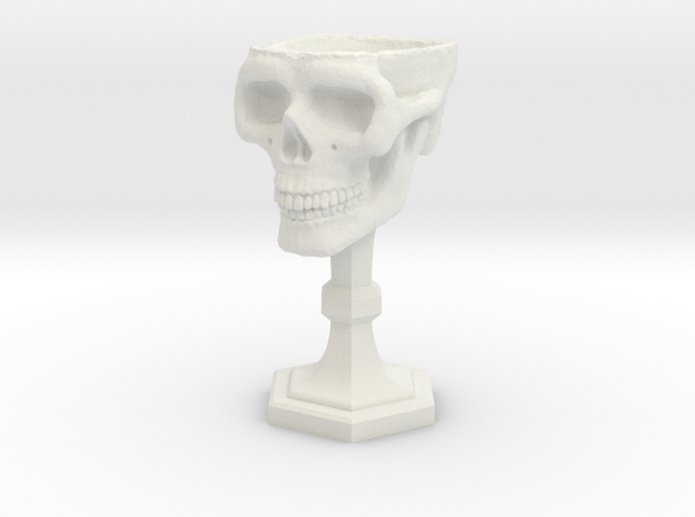 Chalice: Skull Chalice for 1:24 scale (1/2 scale) in White Natural Versatile Plastic