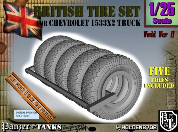 1-25 Chevy LRDG Tire Set1 in Smooth Fine Detail Plastic