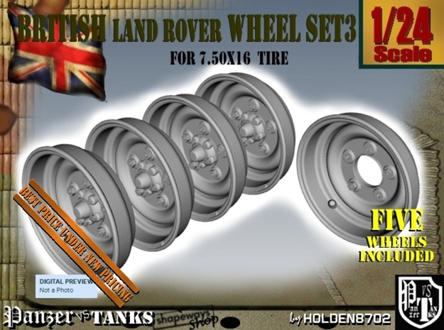 1-24 Land Rover 750x16 Wheels Set3 in Frosted Ultra Detail