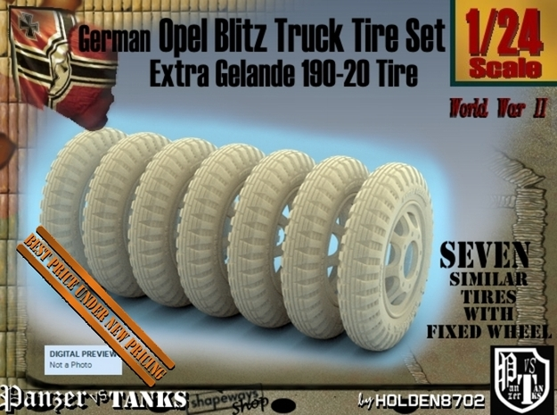 1-24 Opel Blitz Tire 190x20 FUD Set2 in Frosted Ultra Detail