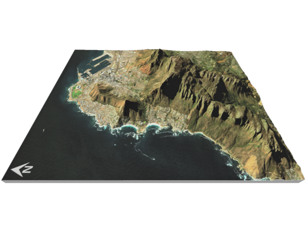 "Table Mountain Map: 8.5""x11"" Portrait in Glossy Full Color Sandstone"