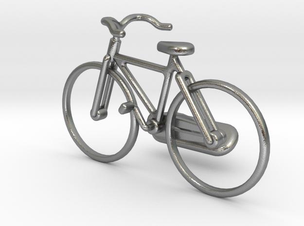 Bicycle Cufflink in Raw Silver