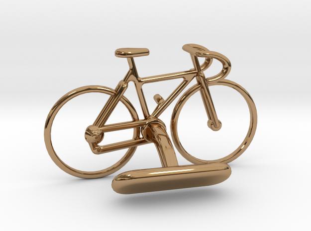 Racing Bike Cufflink in Polished Brass