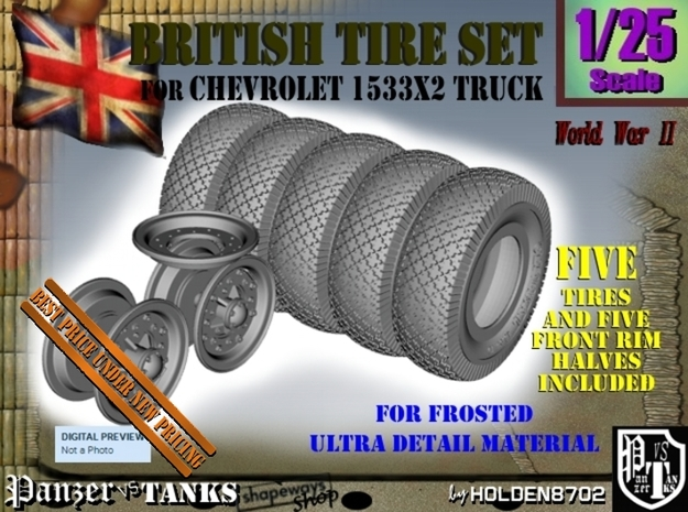 1-25 Chevy LRDG Tire And Rims FUD Set3 in Frosted Ultra Detail
