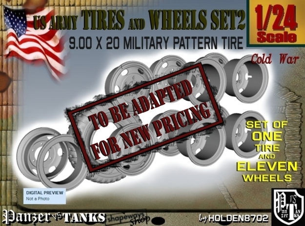 1-24 900x20 M35 Tire And Wheels Set2 in Transparent Acrylic