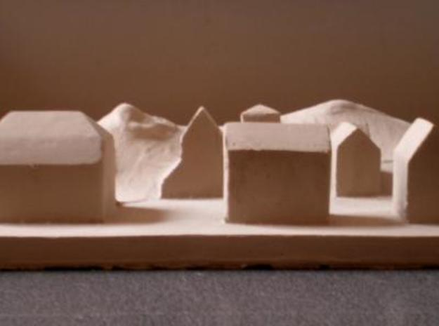 Tsunami 3d printed Out from plaster mold, 'barbotine' (dried clay, 5mm depht.)