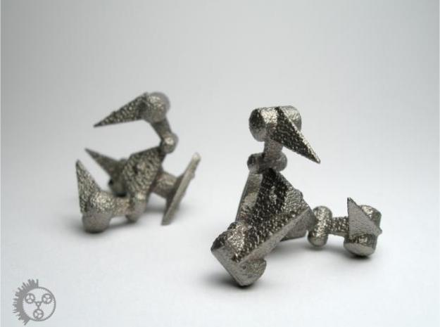 Tribot Cufflinks in Polished Bronzed Silver Steel