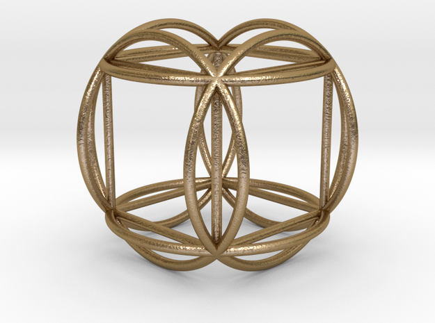"Hexasphere w/nested Hexahedron 1.8"" (no bale) in Polished Gold Steel"