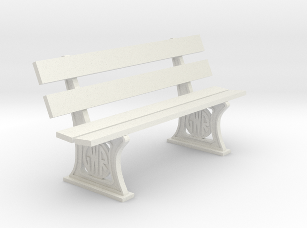 GWR Bench 10mm scale in White Natural Versatile Plastic
