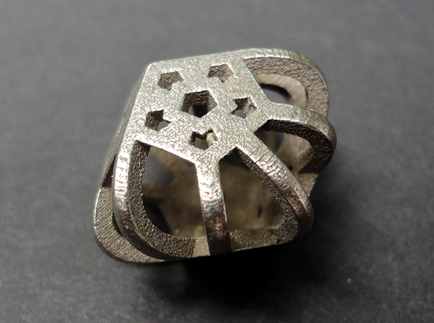 DemiDodeca d6 in Polished Bronzed Silver Steel