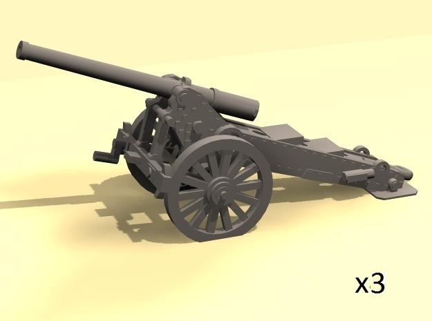 1/144 WW1 De Bange 155mm cannon in Smooth Fine Detail Plastic