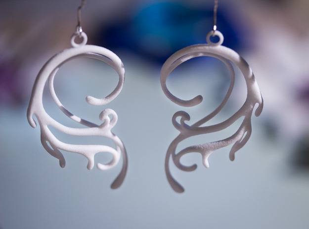 Melting Curl Earrings in White Processed Versatile Plastic